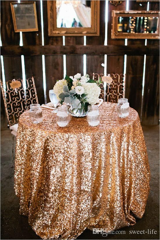 2015 Cheap Rose Gold Bling Bling Sequins Wedding Decorations Table Cloth Glitter Evening Bridesmaid Prom Party Dress Fabric