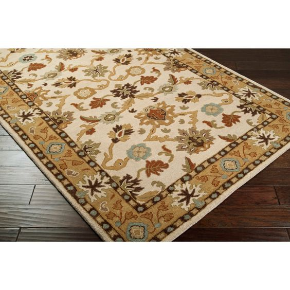 Hand-tufted Traditional Coliseum Vanilla Floral Border Wool Area Rug - 8' Square