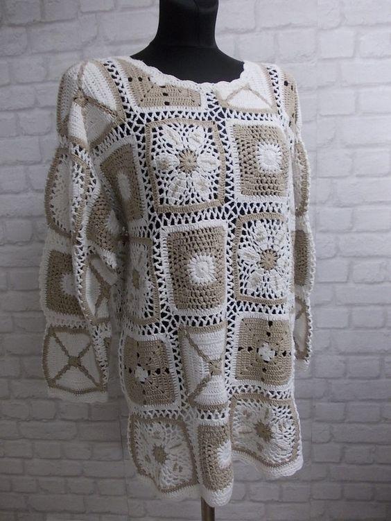 Hippie Granny Square 70er Häkel Pullover Crochet