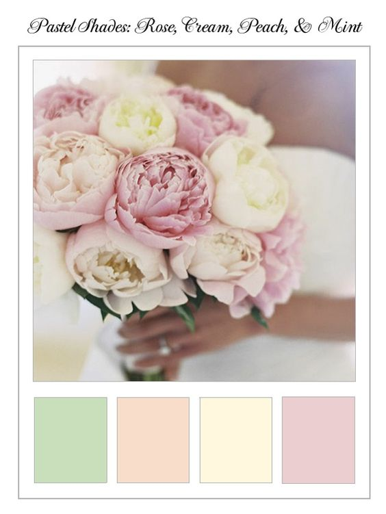The Wedding Planner   Peonies and Pinafores: Rose, Cream, Peach  Mint   The recent popularity of shows like Downton Abbey is the inspiration behind todays collage: an Edwardian-themed celebration thats perfect for a vintage-loving English Rose. Or in this case, peony. #Wedding #Dcor #Bouquet #Bride