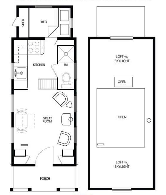 Main Floor Plan   Four Lights   Tiny House Plans   Pinterest    Main Floor Plan   Four Lights