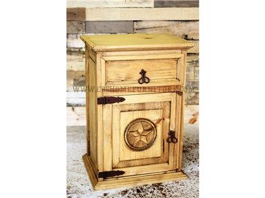 Shop for Million Dollar Rustic Nightstand, 02-10-NS-TX, and other Bedroom Tables at CBS Furniture in Cleveland TX, Baytown TX. One-Drawer, One-Door Nightstand. Available with or without star, left or right-opening door.