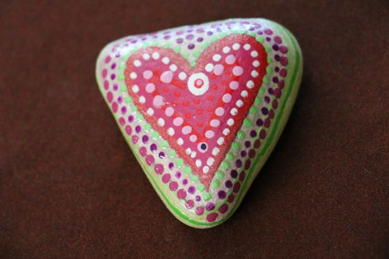Painted Heart Stone