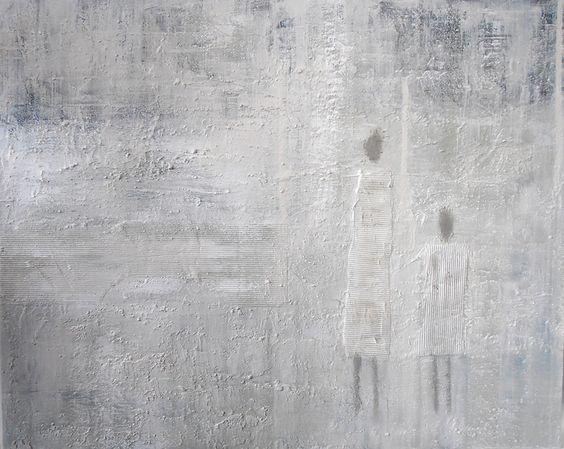 """Acrylbild """"Zwei alleine"""" von Acryl- und Pastellgemälde Ingrid Plank auf DaWanda.com"""