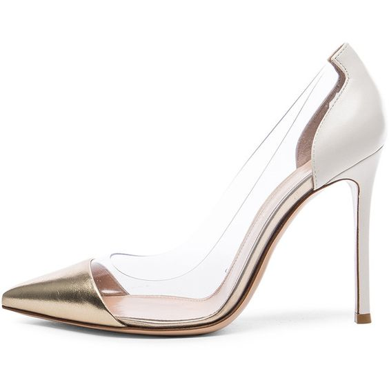 Gianvito Rossi Leather Plexi Pumps (£570) ❤ liked on Polyvore featuring shoes, pumps, acrylic shoes, gianvito rossi, plexi pumps, leather shoes and leather pumps