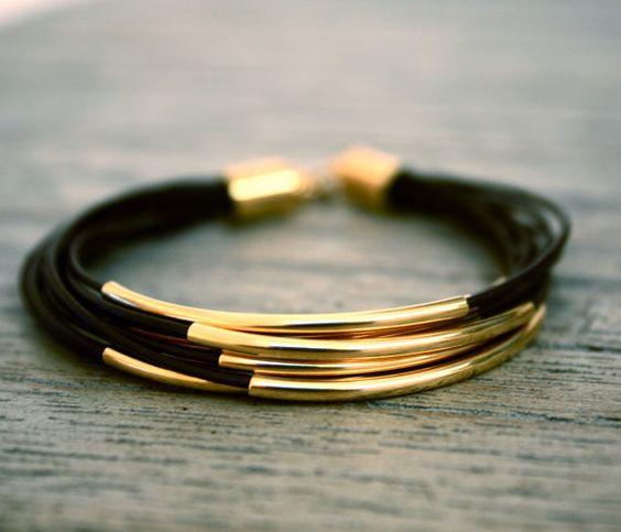 Thin Dark Brown Leather Bracelet with Gold Tube par fourhandsNYC