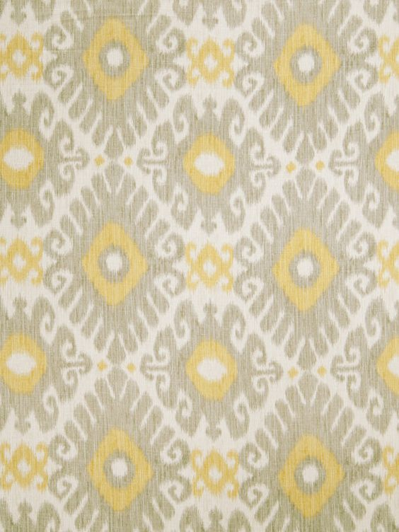 Lemon Yellow Grey Ikat Linen Upholstery Fabric - Light Grey Ikat ...