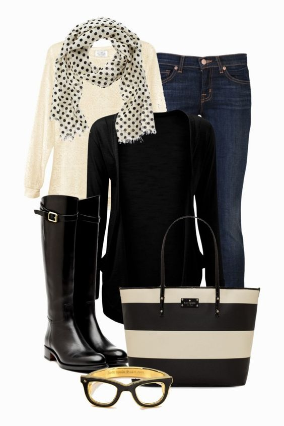 I love black and white, and I love the mixed patterns of the accessories.