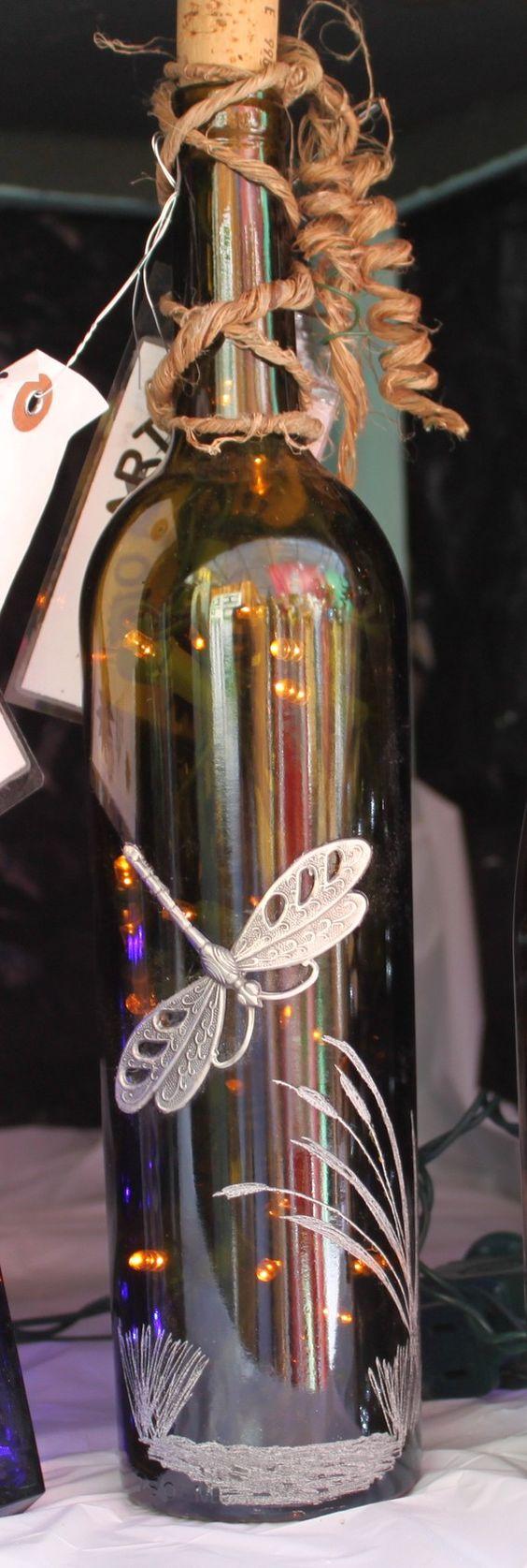 Wine bottle led dragonfly night light decrorative for Lighted wine bottle craft