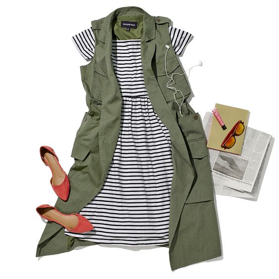 Love this striped dress + army-style vest combo.
