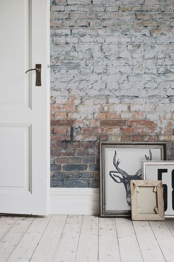 Love exposed brick walls get the look with this brick for Exposed brick wall mural