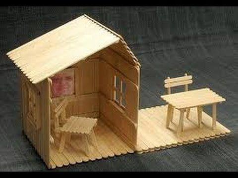 Manualidades con palitos de paleta muebles y casita - Manualidades con muebles ...