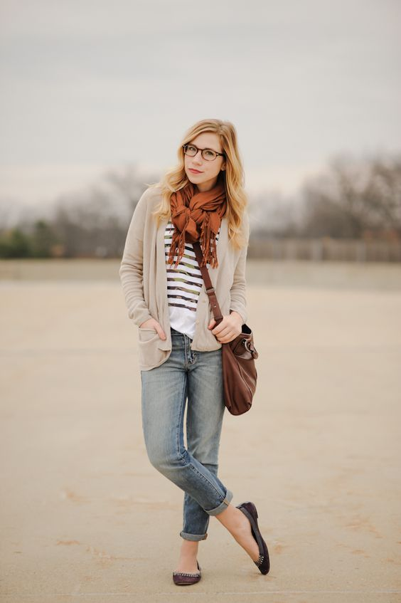 A pair of Gap jeans and a stripe tee as featured on the blog Sidewalk Ready.