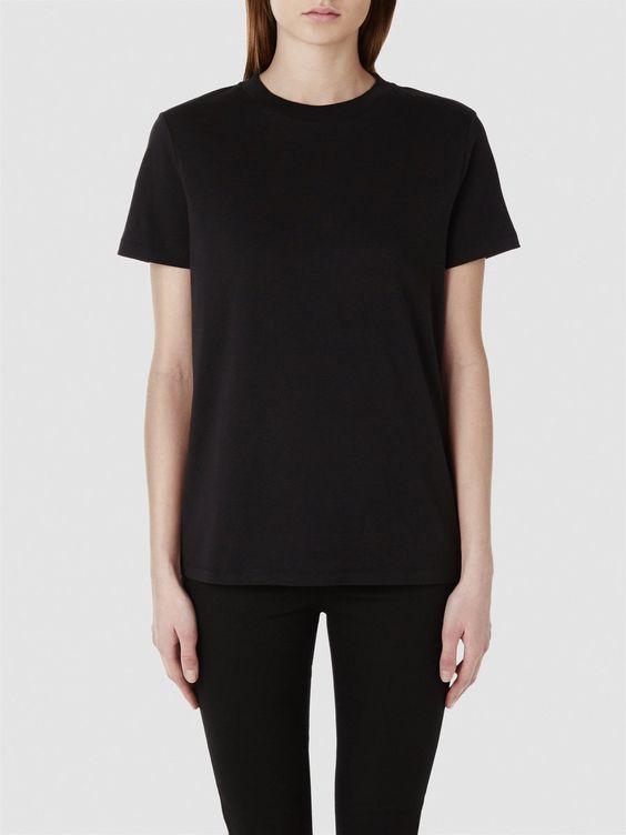 SELECTED FEMME BASIC - BOMULDS T-SHIRT, Black. Højhalset t-shirt.