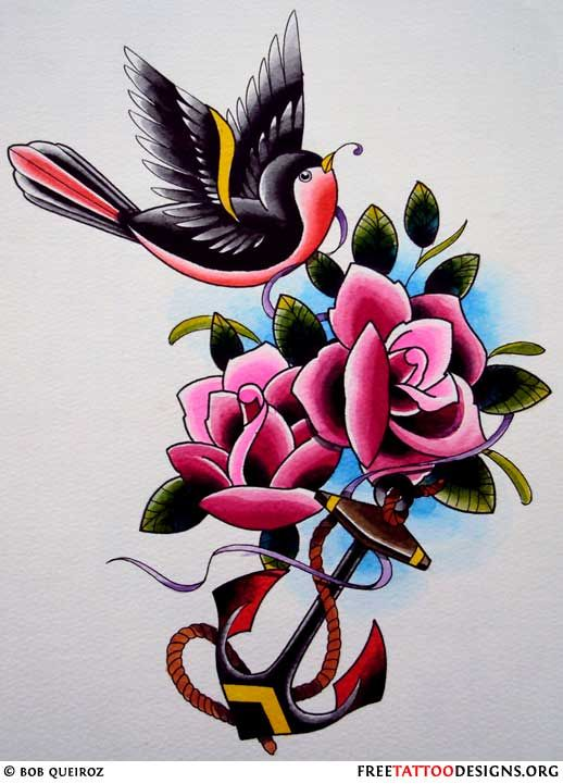 Vintage sparrow tattoo design tattoos gypsy for Sailor jerry gypsy tattoo