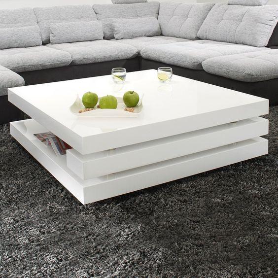 Couchtisch Magica 120x60 Hochglanz Weiss Wohnzimmertisch DELIFE - wohnzimmertisch hochglanz weiß