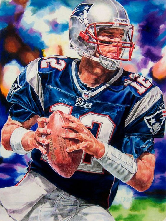 "sports art""Tom Brady"" 18"" x 24"" colored pencil drawing by ..."