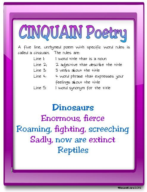 #2 of 10 free poetry posters -- Cinquain Poetry