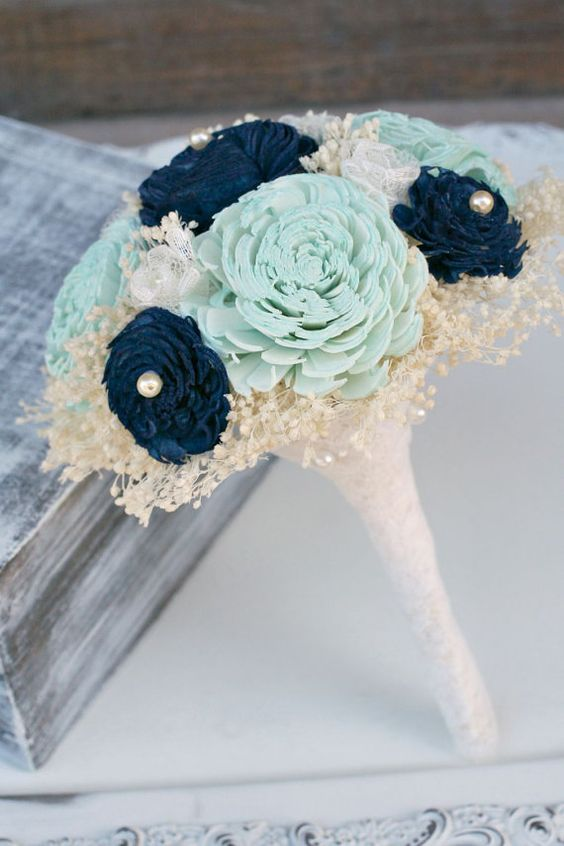 Small Bridesmaids Hand Dyed Pastel Mint & Navy Everlasting Bouquet - Sola Wood Flowers, Baby's Breath, Ivory Lace Flowers - Small Bouquet