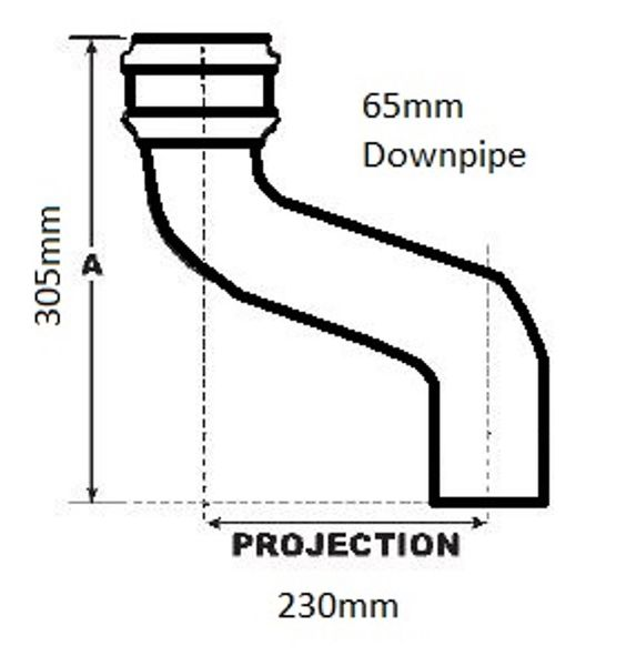 Hargreaves Cast Iron Offset 230mm Projection for 65mm Round Downpipe.  Order online at www.guttercentre.co.uk