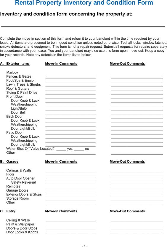Landlord Inventory Template A Landlord Inventory Template Is A List