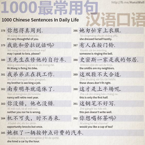 1000 Chinese Sentences In Daily Life Part 25