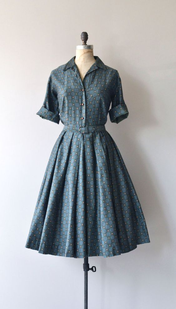 Vintage 1950s super soft cotton shirtwaist style dress in dark moody green with tiny mandala print, open collar, cuffed sleeves, spherical copper: