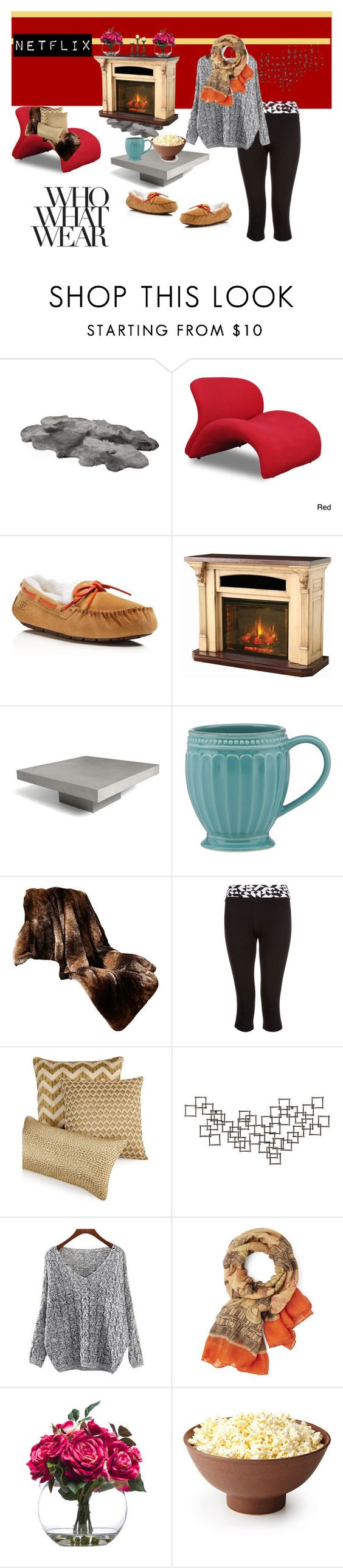"""""""netflix night"""" by pricealeigha on Polyvore featuring Ceets, UGG Australia, DutchCrafters, Lenox, Hotel Collection, Crate and Barrel and Lux-Art Silks"""