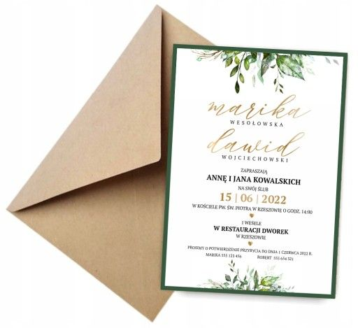 Zaproszenia Slubne Kwiaty Liscie Sukulenty Zlote Wedding Invitations Wedding Planning Place Card Holders