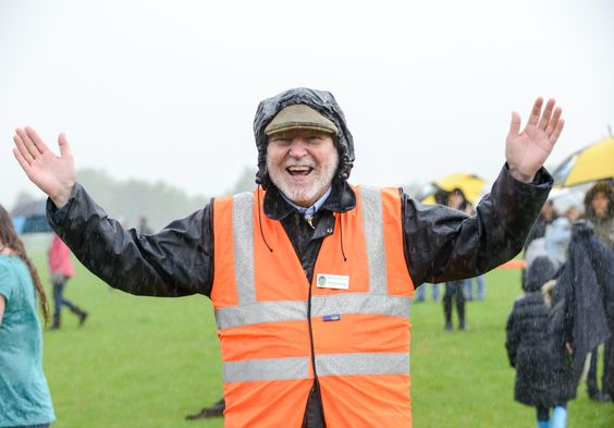 Town Mayor Cllr Chris Slough all happy in the Rain