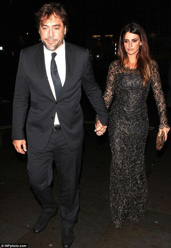 Beautiful pair: Javier Bardem and Penelope Cruz hold hands after a special screening of new film The Counselor at the Odeon in London's West End