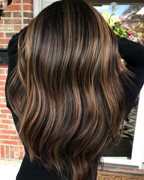 Frisuren dunkle haare mit strahnchen