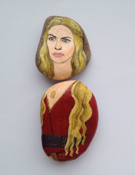 Cersei Lannister fridge magnet, painted on stones