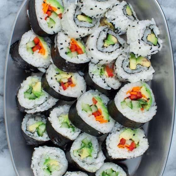 How To Make Vegan Sushi Surprisingly Easy Key To My Lime Recipe Sushi Roll Recipes Vegetarian Sushi Veggie Sushi