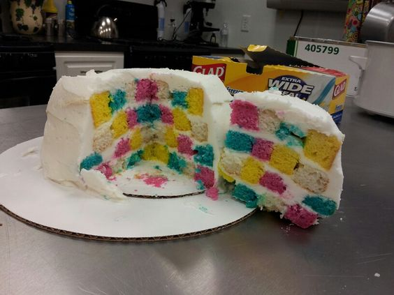 Checkerboard cake fail! Haha