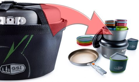 This integrated cooking and eating set is reconfigurable for everything from 2-person backpacking to 4-person car camping. The GSI Pinnacle Camper fits a lot of utility into an ultralight and compact and light package.