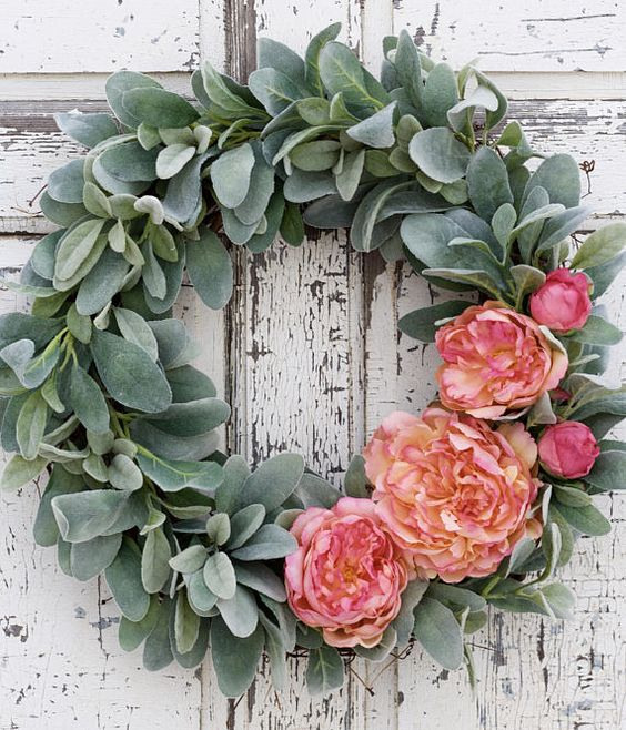 Lambs Ear Wreath, Peony Wreath, Wedding Wreath, Valentines Wreath, Gift for Her, Spring Wreath, Mothers Day Wreath, Door Wreath This wreath is just lovely!!! It looks so soft with the combination of velvet textured lambs ear against pink and coral peonies. A pretty wreath to