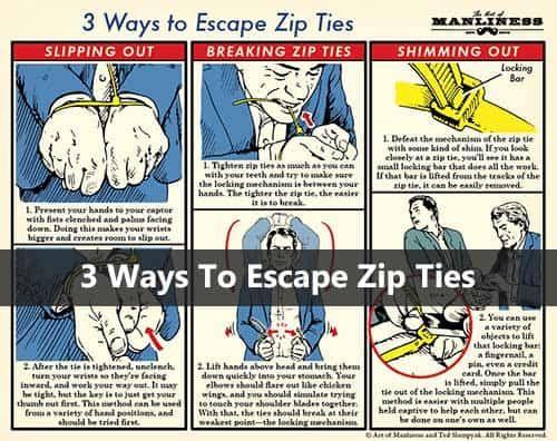 3 Ways To Escape Zip Ties Escape Zip Ties Zip Ties Zip