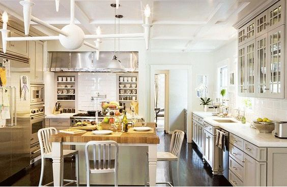 grey cabinets butcher block island, I can get behind this kitchen.