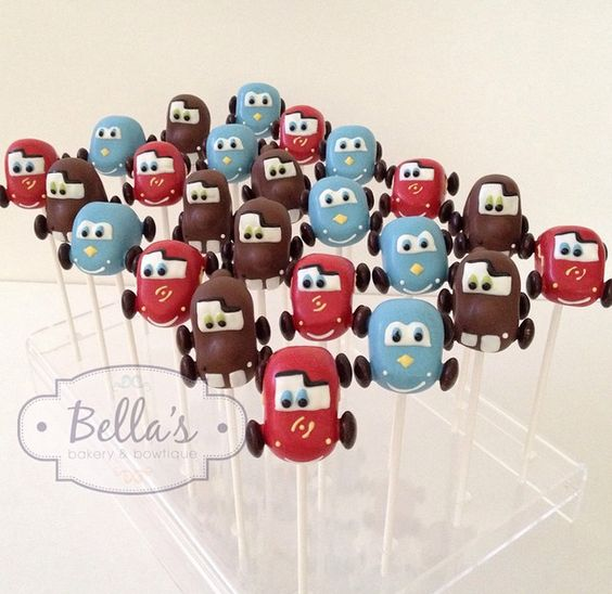 Cars Cake Pops! Perfect for a little boy's Birthday Party! From Bella Bakery