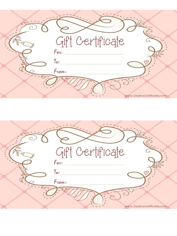 free printable pink gift certificate with a brown drawing DIY - printable gift certificates free template
