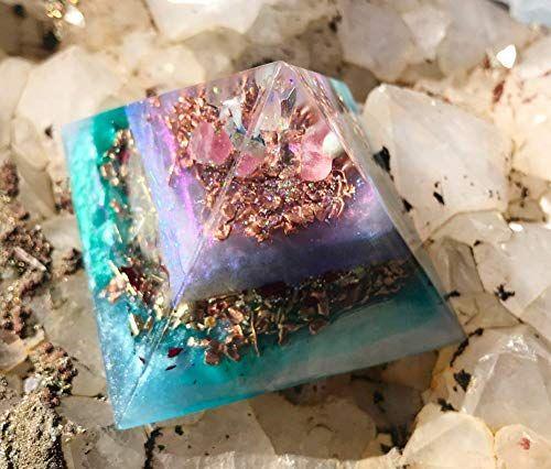 Orgone Rose Quartz Pyramid Orgonite Point EMF Protection Crystal Healing