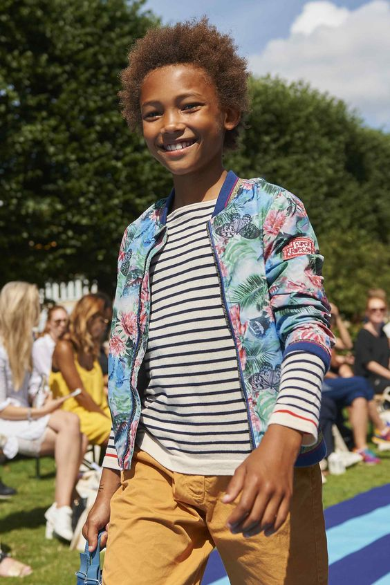 Florals for teenage boys at CIFF Kids, Jacket by Petrol Industries, T-shirt by Fub, shorts by Poppy Rose all for Spring 2016 kidswear: