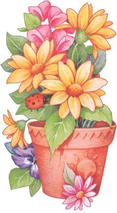 FLOWERS IN POT CLIP ART: