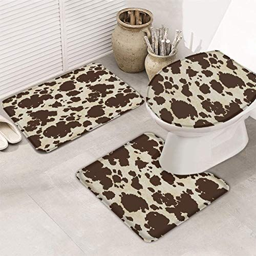 Joocar 3pcs Set Bathroon Non Slip Pedestal Rug Lid Toilet Cover Bath Mat Brown Cowhide Cow Skin Print Soft And Beaut In 2020 Pedestal Rug Toilet Covers Brown Cowhide