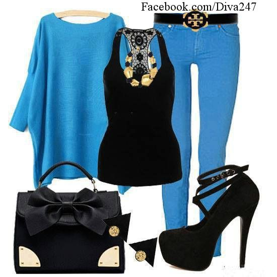 The color of this set of outfit is cute. rock this outfit with the atractive black stiletto heel high platform upper shoes.