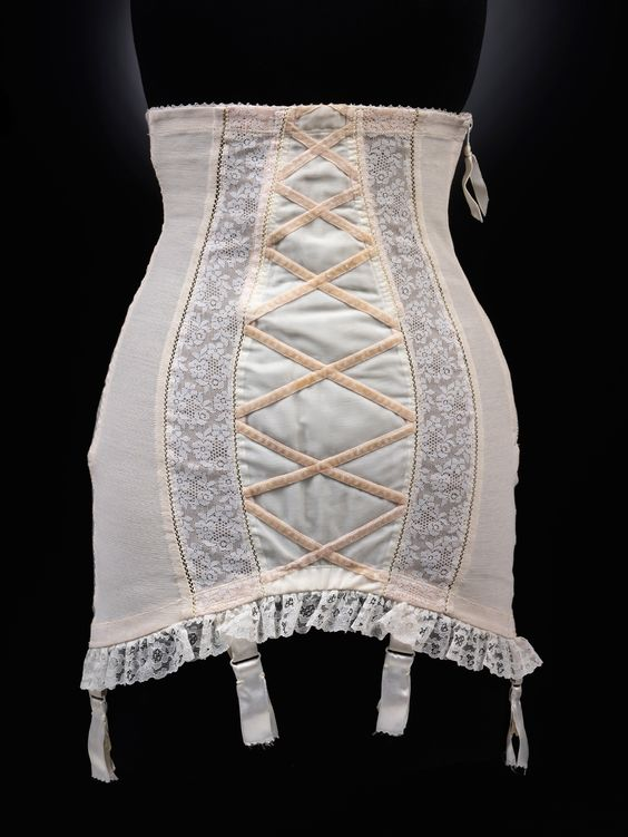 """1955 Dior Girdle. A must have.  Kind of """"scary"""" to think I remember those days quite well!  My mother wore things like this."""