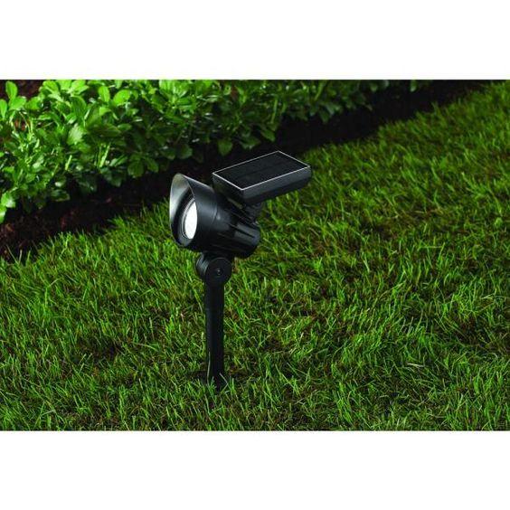Hampton Bay 45 Lumens Solar Black Outdoor LED Landscape Spotlight NXT-1775B - The Home Depot