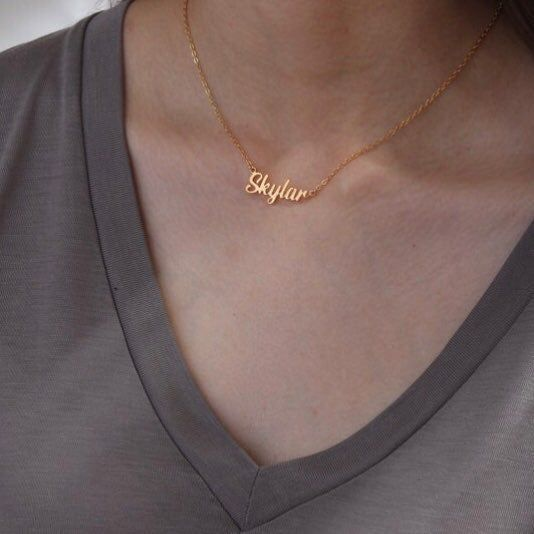 Custom Name Necklaces In Gold Silver And Rose Gold And Chain Inches Of 14 16 18 And 20 Send Me The Custom Name Necklace Kay Jewelers Necklaces Name Necklace
