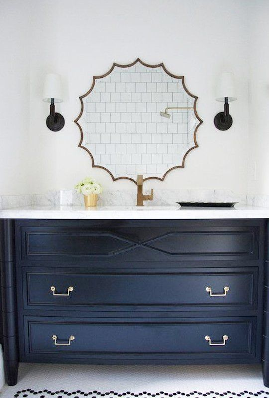 Trend alert navy marble brass in the kitchen bath pinterest boys vanities and marbles Bathroom design apartment therapy